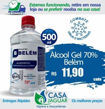 Álcool Gel Bactericida Glicerinado 500ml/400G Refil - BELÉM