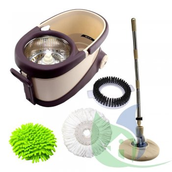 Balde Perfect Mop Move 360 Inox C/ 3 Refis E Recipiente De Sabão