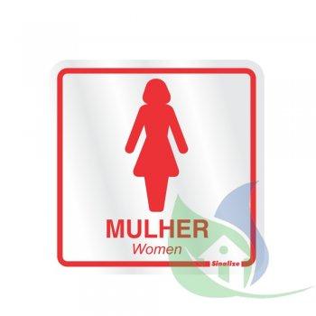 120AD - Placa Alumínio 15X15cm Sanitário Feminino - SINALIZE