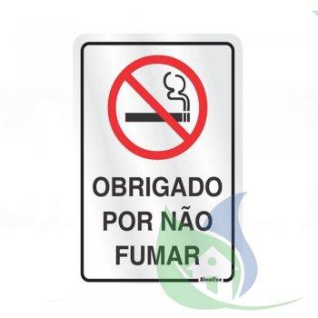 150AL - Placa Alumínio 16X23cm Obrigado Por Não Fumar - SINALIZE