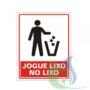 220AQ - PLACA EM PVC 15X20CM JOGUE LIXO NO LIXO - SINALIZE