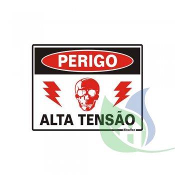 220BE - PLACA EM PVC 15X20CM PERIGO ALTA TENSÃO - SINALIZE