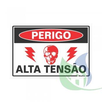 250AO - Placa Em PVC 20X30cm Perigo Alta Tensão - SINALIZE