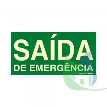 315AM - PLACA EM PVC 30X15CM SAÍDA DE EMERGÊNCIA FOTOLUMINESCÊNCIA - SINALIZE