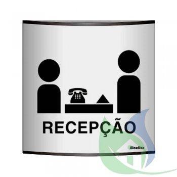500AC - PLACA EM ALUMÍNIO CALANDRADO 14X14CM RECEPÇÃO - SINALIZE