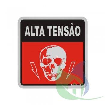 900AW - PLACA EM ALUMÍNIO 12X12CM ALTA TENSÃO - SINALIZE