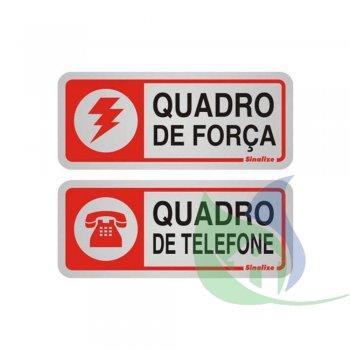 900BC - PLACA EM ALUMÍNIO 12X12CM QUADRO FORÇA/TELEFONE - SINALIZE