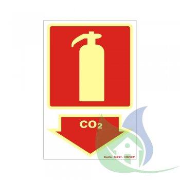 250BS - PLACA EM PVC 20X30CM EXTINTOR CO2 FOTOLUMINESCÊNCIA - SINALIZE