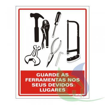 220AV - Placa Em PVC - 15X20cm - Guarde As Ferramentas