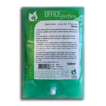 Refil Sabonete Líquido Office Parfum Perolado Premium Herbal 500Ml - Casa Jaguar